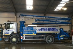 Concrete boom side signwritten